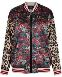 Maison Scotch - Women's Silky Feel Mixed Print Bomber Jacket With Lurex - Lyst