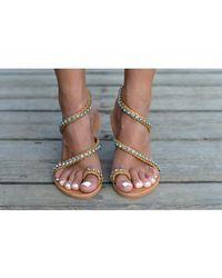 Atterley - Sandals 3 Strap Blue Crystals - Lyst