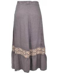 120% Lino - 120% Lino Taupe Embellished Midi Skirt - Lyst