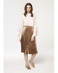 Paisie - Pleated Velvet Skirt In Brown - Lyst
