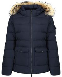 Pyrenex - Women's Authentic Mid Length Down Jacket With Saga Fur Trim - Lyst