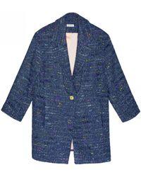 INTROPIA - Blue Tweed Coat - Lyst