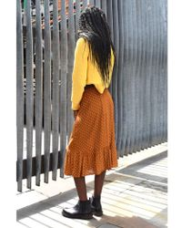 Ichi - Brick Leather Brown Skirt - Lyst