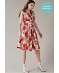 Emily and Fin - Esther Pink Floral Button Through Tea Dress - Lyst