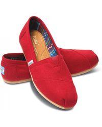 TOMS - Ladies Red Canvas Classic Alpargata Shoes - Lyst