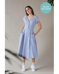Emily and Fin - Jodie Blue Stripe Midi Day Dress - Lyst