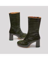 Miista - Carlota Dark Green Croc Leather Boots - Lyst