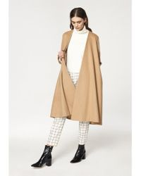 Paisie - A-line Collarless Coat With Cuff Details In Sand (with Self Belt) - Lyst