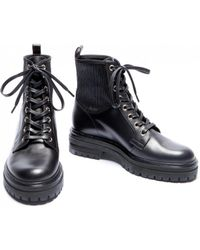 Gianvito Rossi - Ceonene Black Leather Hiker Boot - Lyst