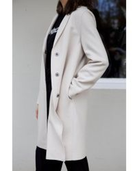 Harris Wharf London - Cocoon Single-breasted Wool Coat In Cream - Lyst