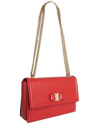 Ferragamo Leather Bag With Bow Detail - Red