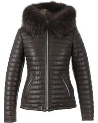 Oakwood - Happy Brown Leather Down Jacket With Fur Hood - Lyst