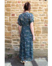 INTROPIA - Midi Dress Green Floral Print - Lyst