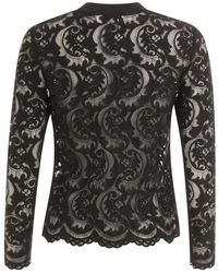 COSTER COPENHAGEN - Blouse In Lace With Rib Detail In Black - Lyst