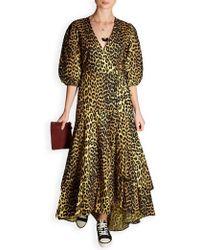 9a2e6d34 Ganni Bijou Leopard Print Cotton Midi Dress - Lyst
