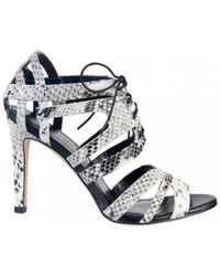 Lola Cruz - Farbe Python Print Leather Heels - Lyst