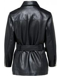SELECTED - Sonja Lamb Black Leather Jacket - Lyst