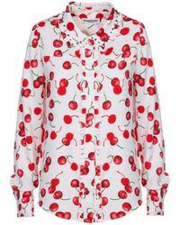 Essentiel - Antwerp Paranormaal Off White Ruffled Shirt With Red Cherry - Lyst
