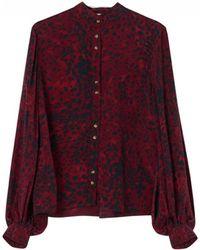 Lily and Lionel - Maddox Textured Silk Shirt -burgundy Leopard - Lyst