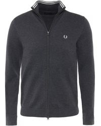 Fred Perry - Classic Charcoal Cardigan - Lyst