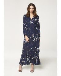 Paisie - Floral Tie Wrap Maxi Dress With Frills In Navy - Lyst