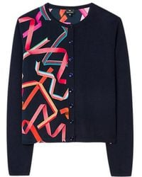 Paul Smith - Ribbon Knitted Cardigan Navy - Lyst