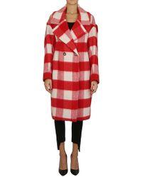 Essentiel - Printed Coat In Red - Lyst
