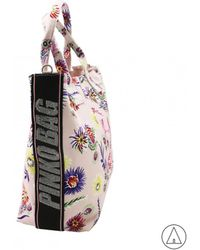 Pinko - Floral Print Tote Bag In Cream - Lyst