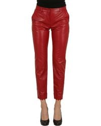 Philosophy - Leather Trousers In Red - Lyst