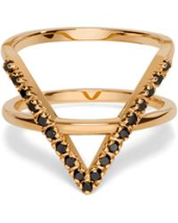 AUrate New York | Icon Ring Yellow Gold With Black Diamonds | Lyst