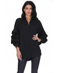 AX Paris | Black Ruffle Sleeve Shirt | Lyst