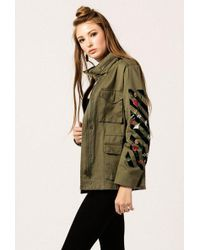 Azalea - Embroidered Zip Up Jacket - Lyst