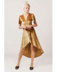 Azalea - Velvet Midi Wrap Dress - Lyst