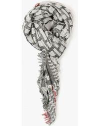 Azalea - Open Knit Geometric Print Scarf - Lyst