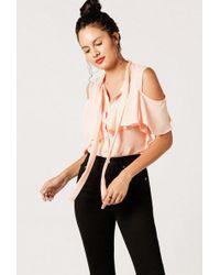 Azalea - Sleeveless Buttoned Ruffle Top - Lyst