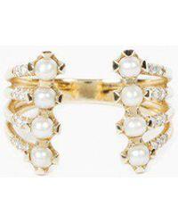 jennie kwon stacked diamond pearl cuff ring lyst