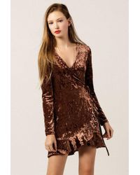 Azalea - Velvet Ls Wrap Dress - Lyst