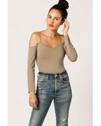Azalea - Fitted Cold Shoulder Bodysuit - Lyst