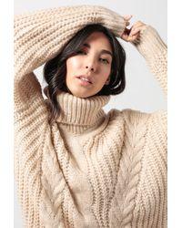 Azalea - Chunky Cable Knit Turtleneck Jumper - Lyst