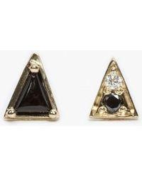 Mociun - Onyx Mismatched Triangle Studs - Lyst
