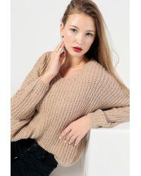 Azalea - Fuzzy V Neck Pullover Jumper - Lyst