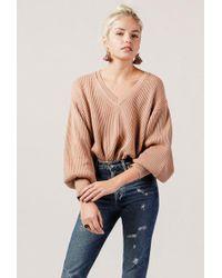 Azalea - V-neck Balloon Sleeve Sweater - Lyst