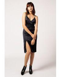 Azalea - Satin Wrap Midi Dress - Lyst