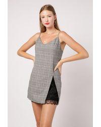 Azalea - Plaid Slip Dress W/ Lace - Lyst