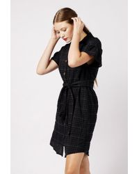 Azalea - Plaid Button Ruffle Sleeve Dress - Lyst