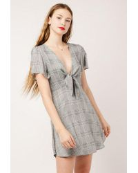 Azalea - Plaid Ss Tie Front Dress - Lyst