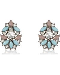River Island | Silver Tone Turquoise Cluster Earrings | Lyst