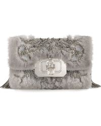 Marchesa Phoebe Large Mink Fur Shoulder Bag Gray - Lyst