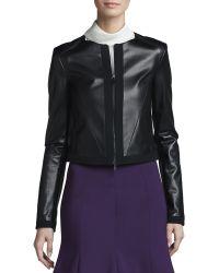 Jason Wu Zipfront Leather Jacket - Lyst