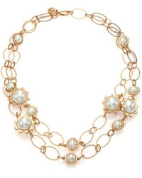 Tory Burch Gear Faux Pearl Convertible Station Necklace gold - Lyst